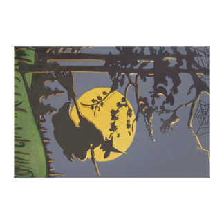 Flying Witch Silhouette Full Moon Spiderweb Canvas Print