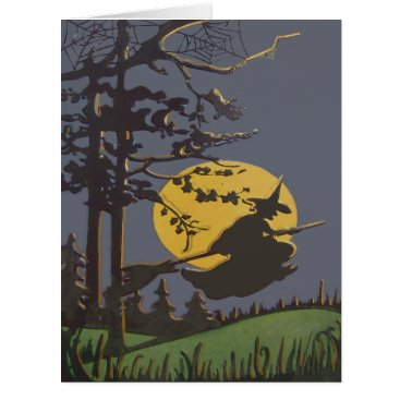 Halloween Themed Flying Witch Silhouette Full Moon Spiderweb Card