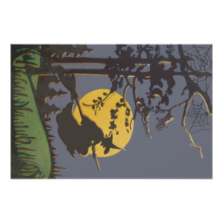 Flying Witch Silhouette Full Moon Spiderweb Photo Print