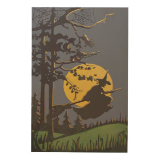 Flying Witch Silhouette Full Moon Spiderweb Wood Print