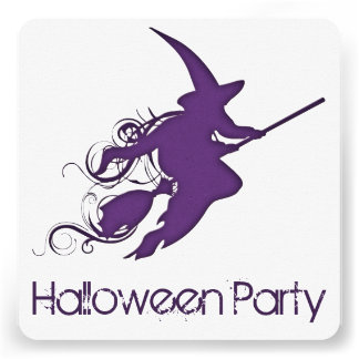 Flying Witch Silhouette Halloween Party Invite 1