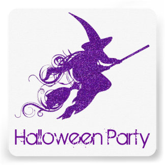 Flying Witch Silhouette Halloween Party Invite 2