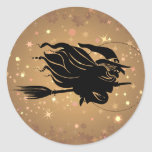Flying Witch Silhouette Stickers