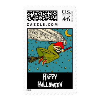Flying Witch Vintage Halloween Stamp