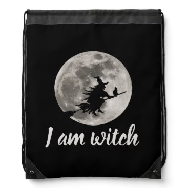 Halloween Themed Flying witch with a bright moon behind her drawstring bag