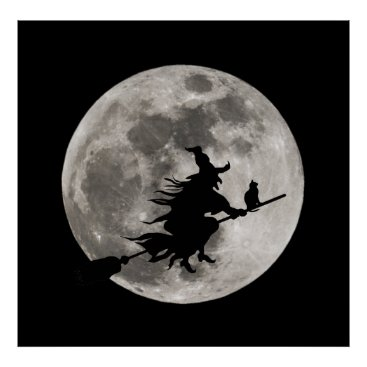 Halloween Themed Flying witch with a bright moon behind her poster