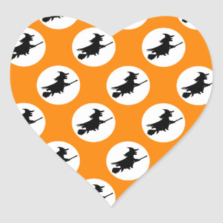 Flying Witches Heart Sticker