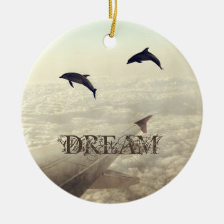 Flying with Dolphins Ceramic Ornament