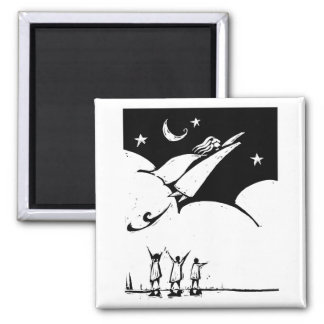 Flying Woman 2 Inch Square Magnet