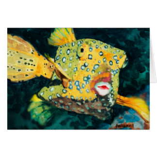 Flying Yellow Boxfish In the Deep Blue Sea Card