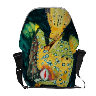 Flying Yellow Boxfish In the Deep Blue Sea Messenger Bag