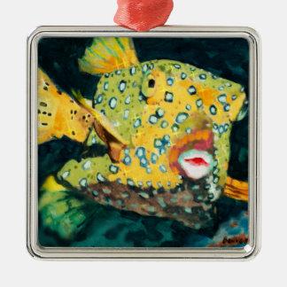 Flying Yellow Boxfish In the Deep Blue Sea Metal Ornament