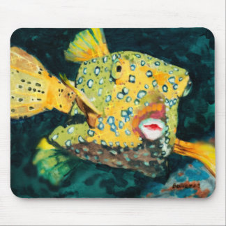 Flying Yellow Boxfish In the Deep Blue Sea Mouse Pad