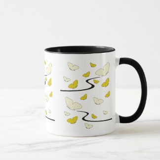 Flying, yellow butterflies mug