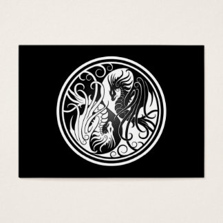 Flying Yin Yang Dragons - black and white Business Card