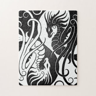 Flying Yin Yang Dragons - black and white Puzzle