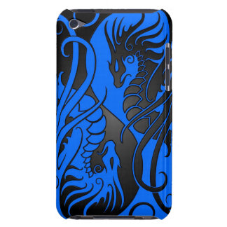Flying Yin Yang Dragons - blue and black Barely There iPod Cover