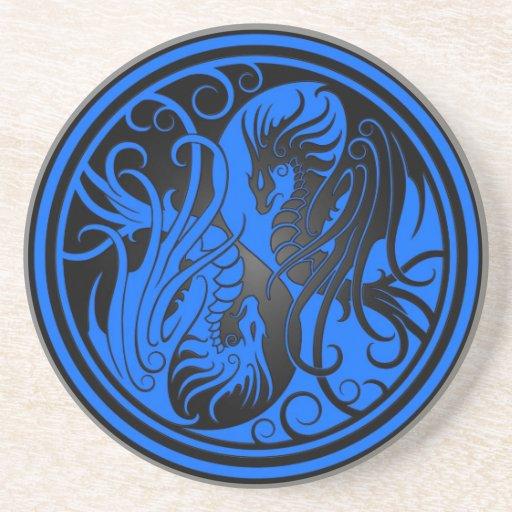 Flying Yin Yang Dragons - blue and black Beverage Coaster