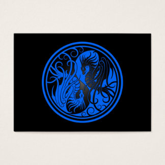 Flying Yin Yang Dragons - blue and black Business Card