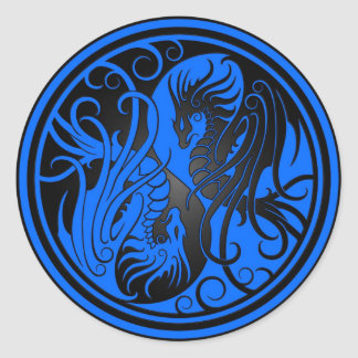 Flying Yin Yang Dragons - blue and black Classic Round Sticker