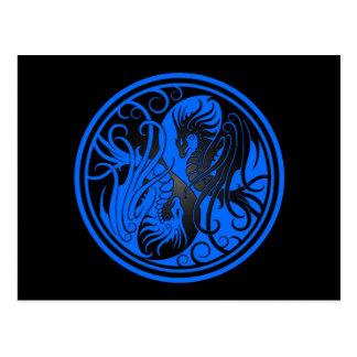 Flying Yin Yang Dragons - blue and black Postcard