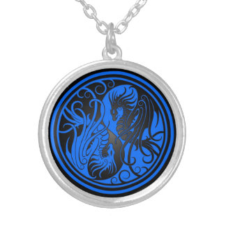 Flying Yin Yang Dragons - blue and black Silver Plated Necklace