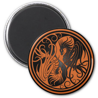 Flying Yin Yang Dragons - brown and black 2 Inch Round Magnet