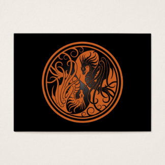 Flying Yin Yang Dragons - brown and black Business Card