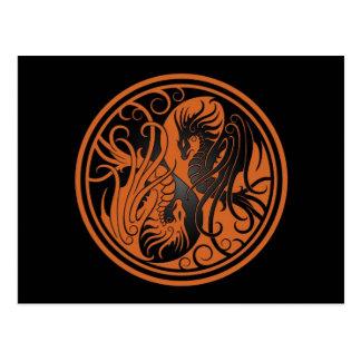 Flying Yin Yang Dragons - brown and black Postcard