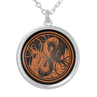 Flying Yin Yang Dragons - brown and black Silver Plated Necklace