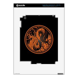 Flying Yin Yang Dragons - brown and black Decal For iPad 3