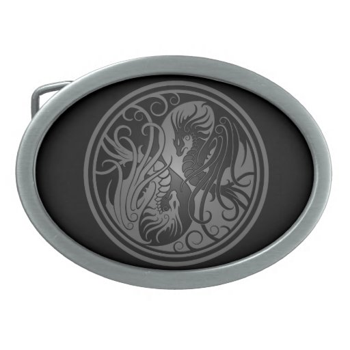 Flying Yin Yang Dragons - dark Oval Belt Buckles