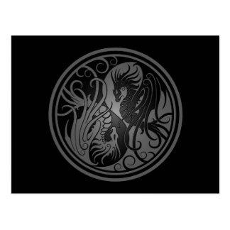 Flying Yin Yang Dragons - dark Postcard