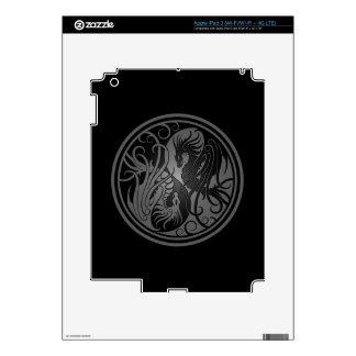 Flying Yin Yang Dragons - dark Skins For iPad 3