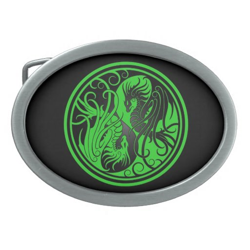 Flying Yin Yang Dragons - green and black Oval Belt Buckles
