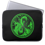 Flying Yin Yang Dragons - green and black Laptop Computer Sleeves