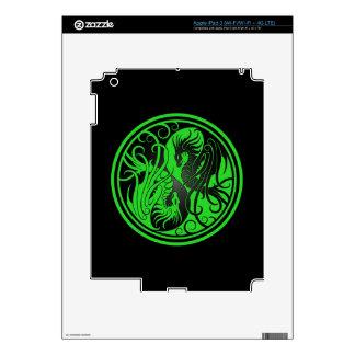 Flying Yin Yang Dragons - green and black Decal For iPad 3