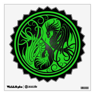 Flying Yin Yang Dragons - green and black Wall Decal