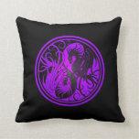Flying Yin Yang Dragons - purple and black Pillows