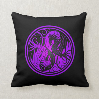 Flying Yin Yang Dragons - purple and black Throw Pillow