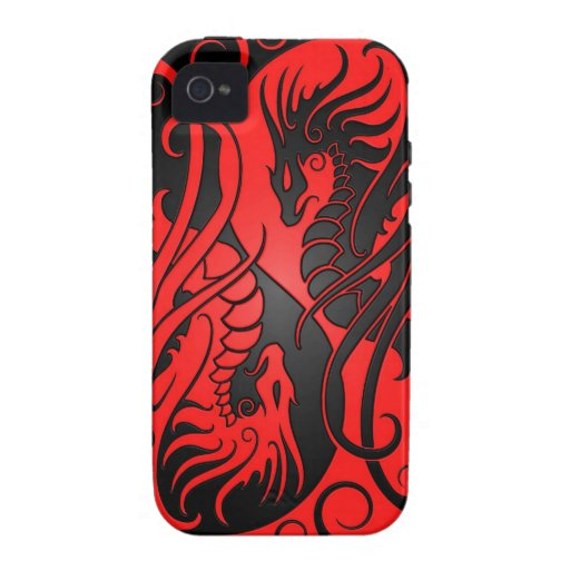 Flying Yin Yang Dragons - red and black Vibe iPhone 4 Case
