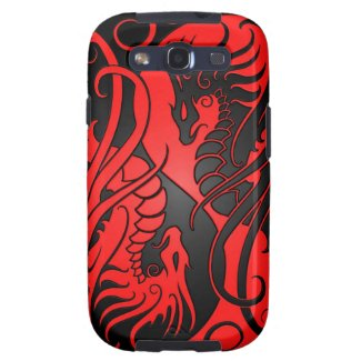 Flying Yin Yang Dragons - red and black