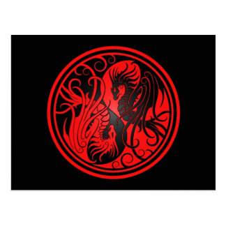 Flying Yin Yang Dragons - red and black Postcard