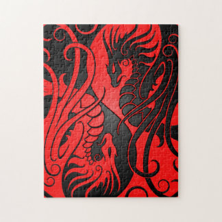 Flying Yin Yang Dragons - red and black Puzzle