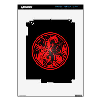 Flying Yin Yang Dragons - red and black Skin For iPad 3