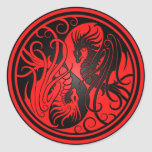 Flying Yin Yang Dragons - red and black Classic Round Sticker