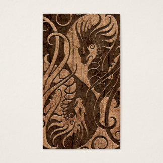 Flying Yin Yang Dragons with Wood Grain Effect Business Card
