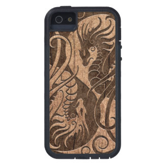 Flying Yin Yang Dragons with Wood Grain Effect Case For iPhone SE/5/5s