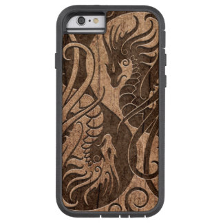Flying Yin Yang Dragons with Wood Grain Effect Tough Xtreme iPhone 6 Case