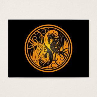 Flying Yin Yang Dragons - yellow and black Business Card